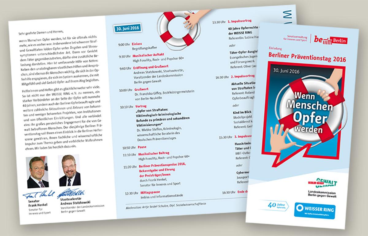 Flyer zum Berliner Präventionstag 2016