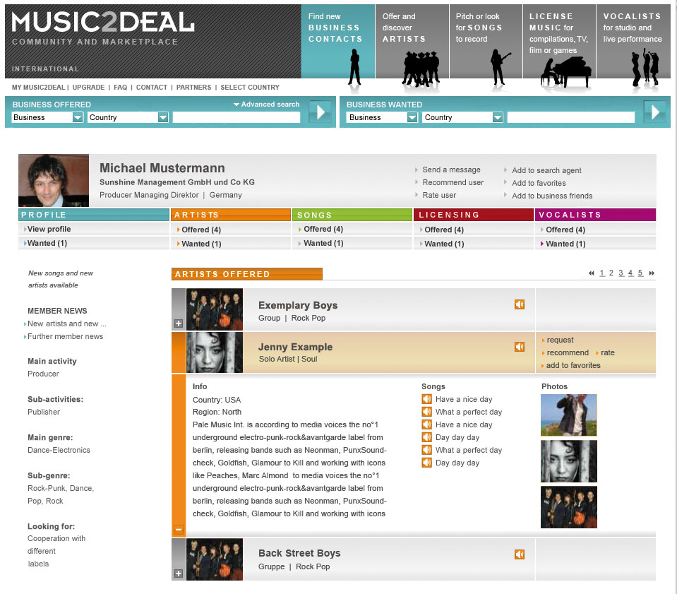 Website Music2Deal
