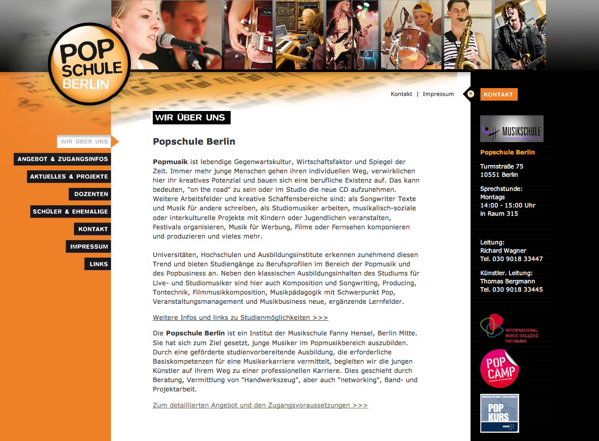 Website Popschule Berlin