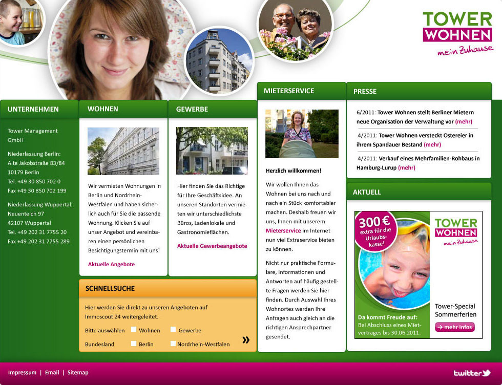 Website Tower Wohnen
